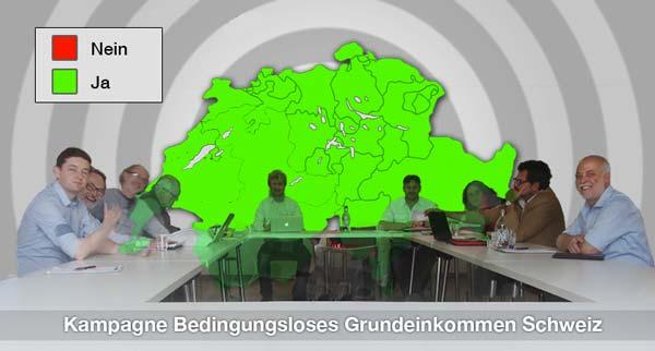 Gründungsmitglieder der schweizerische Kampagne BGE