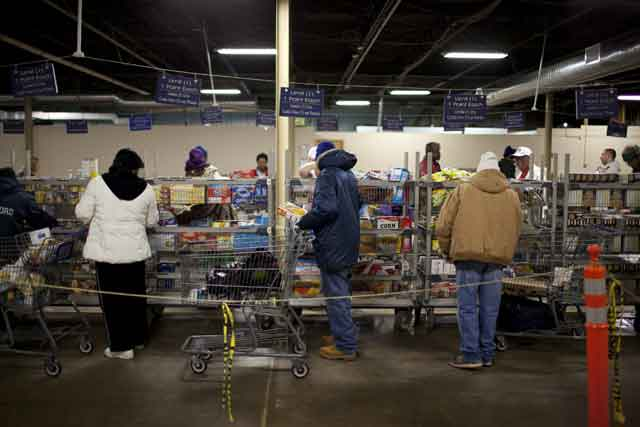 Shoppers at a food pantry