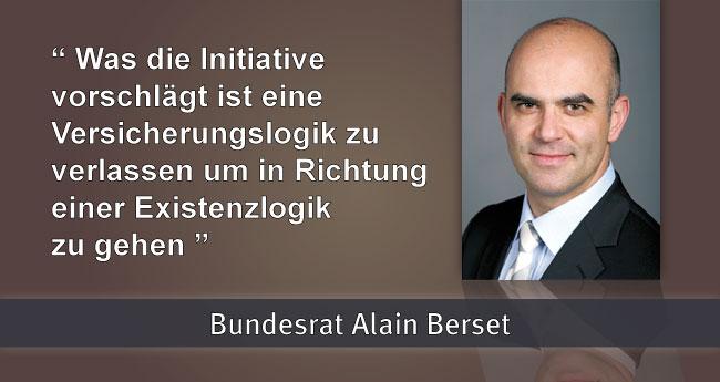 Alain Berset: Was die Initiative vorschlägt ist eine Versicherungslogik zu verlassen um in Richtung einer Existenzlogik zu gehen.
