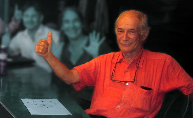 Laurent Rebeaud durante una seduta di coordinamento della campagna svizzera a favore del RBI
